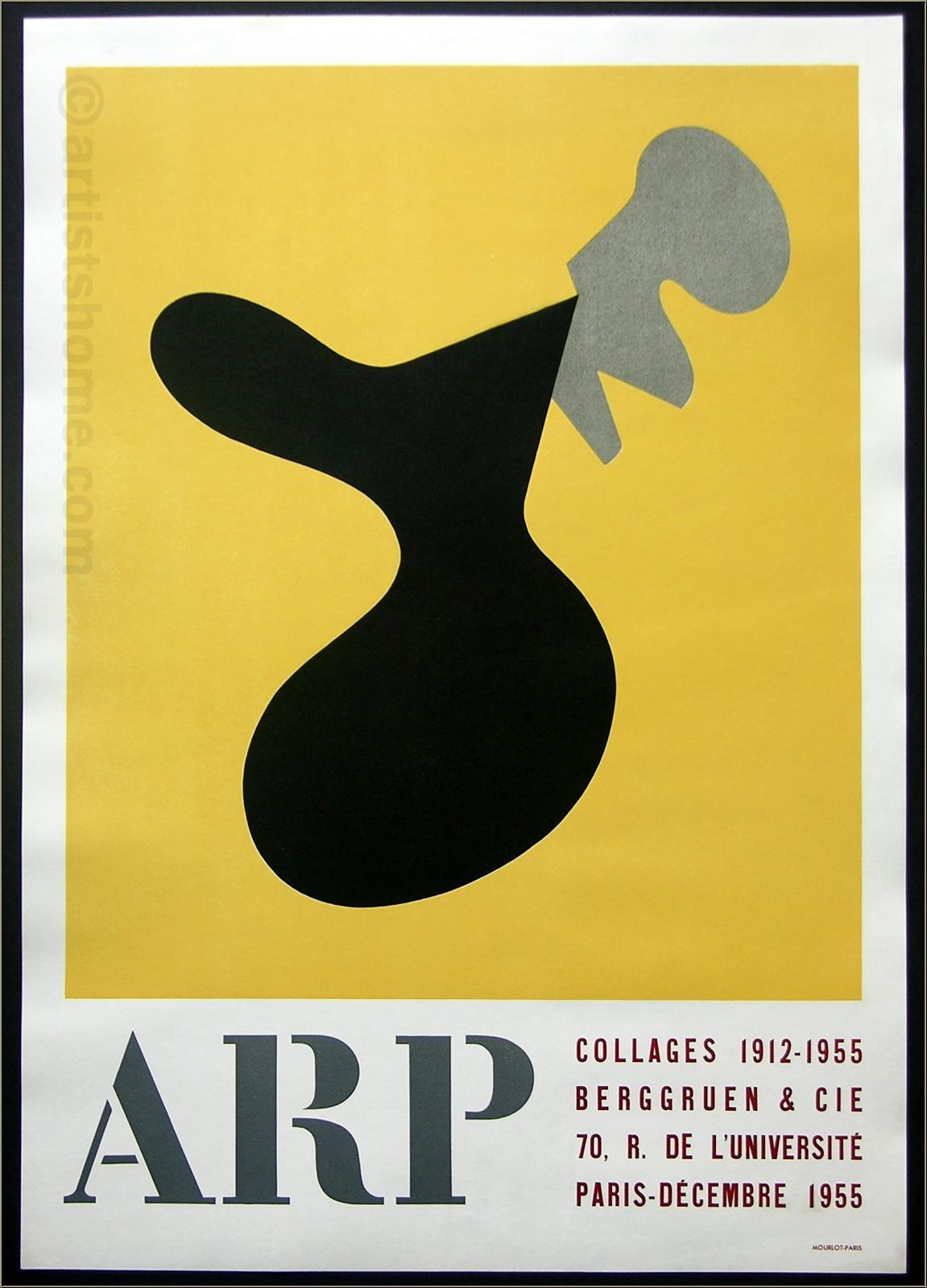 Jean Arp:'Collages' Berggruen & Cie. 1955, Original Poster Mourlot