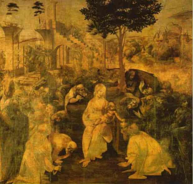 Adorația magilor a lui da Vinci este o lucrare comisionată de către călugării augustinieni din San Donato din Scopeto, Florența, în 1481. Artistul a părăsit Florența, plecând anul urmâtor spre Milano, lăsând astfel tabloul neterminat. Lucrarea se află în Galeria Uffizi din Florența încă din 1670.