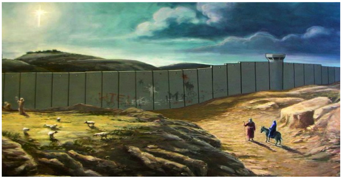 Iosif si Maria în drumul lor spre Betleem, 2005, Banksys