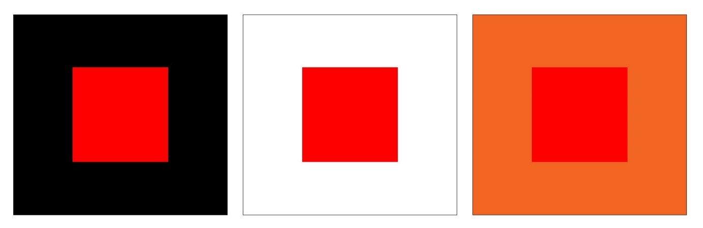 Evidenţierea contrastului simultan dintre roșu pe diverse fundaluri.