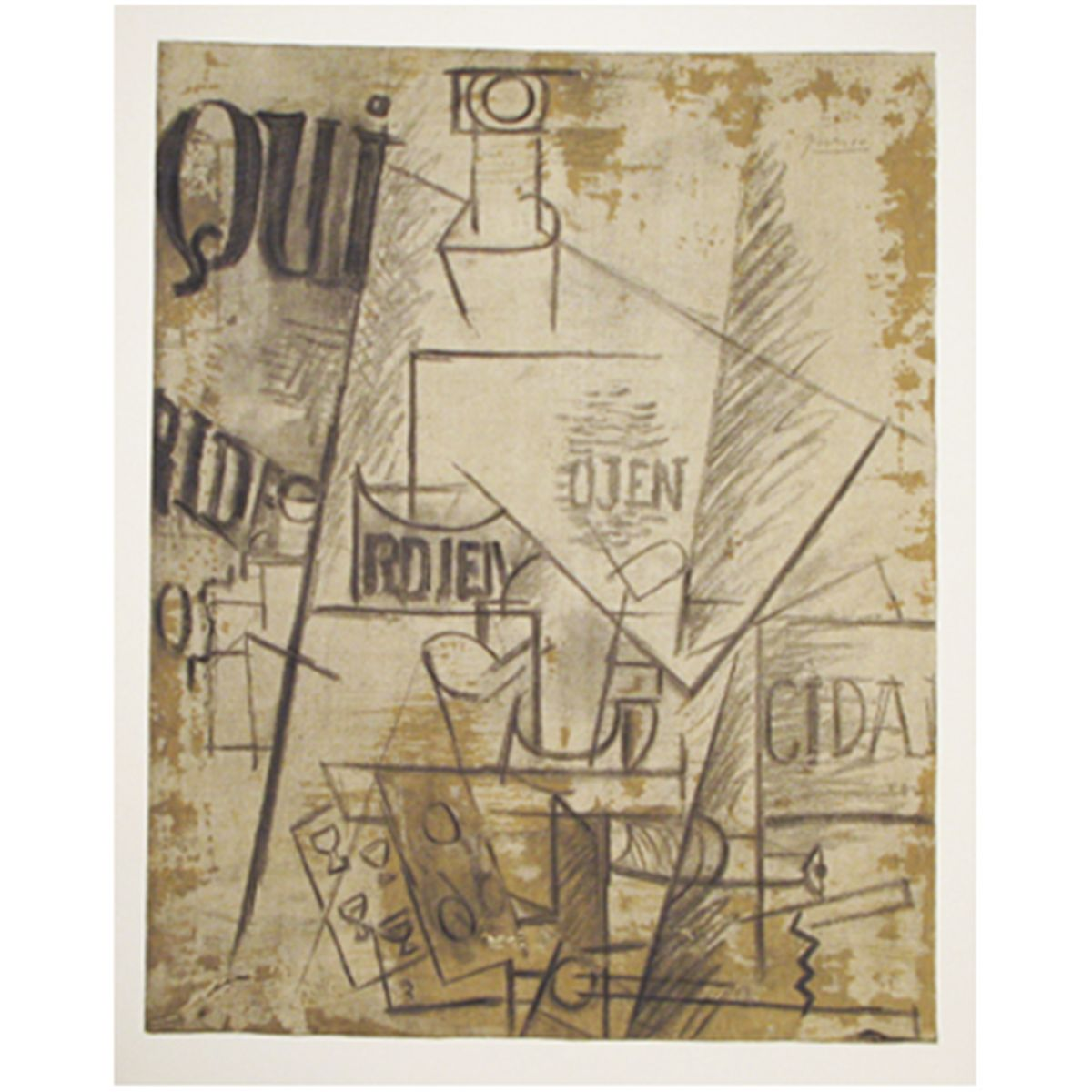 """(Img.4) - Pablo Picasso, """"Qui - Bauteille Table et Verres"""" (Băutură, masă și ochelari)"""
