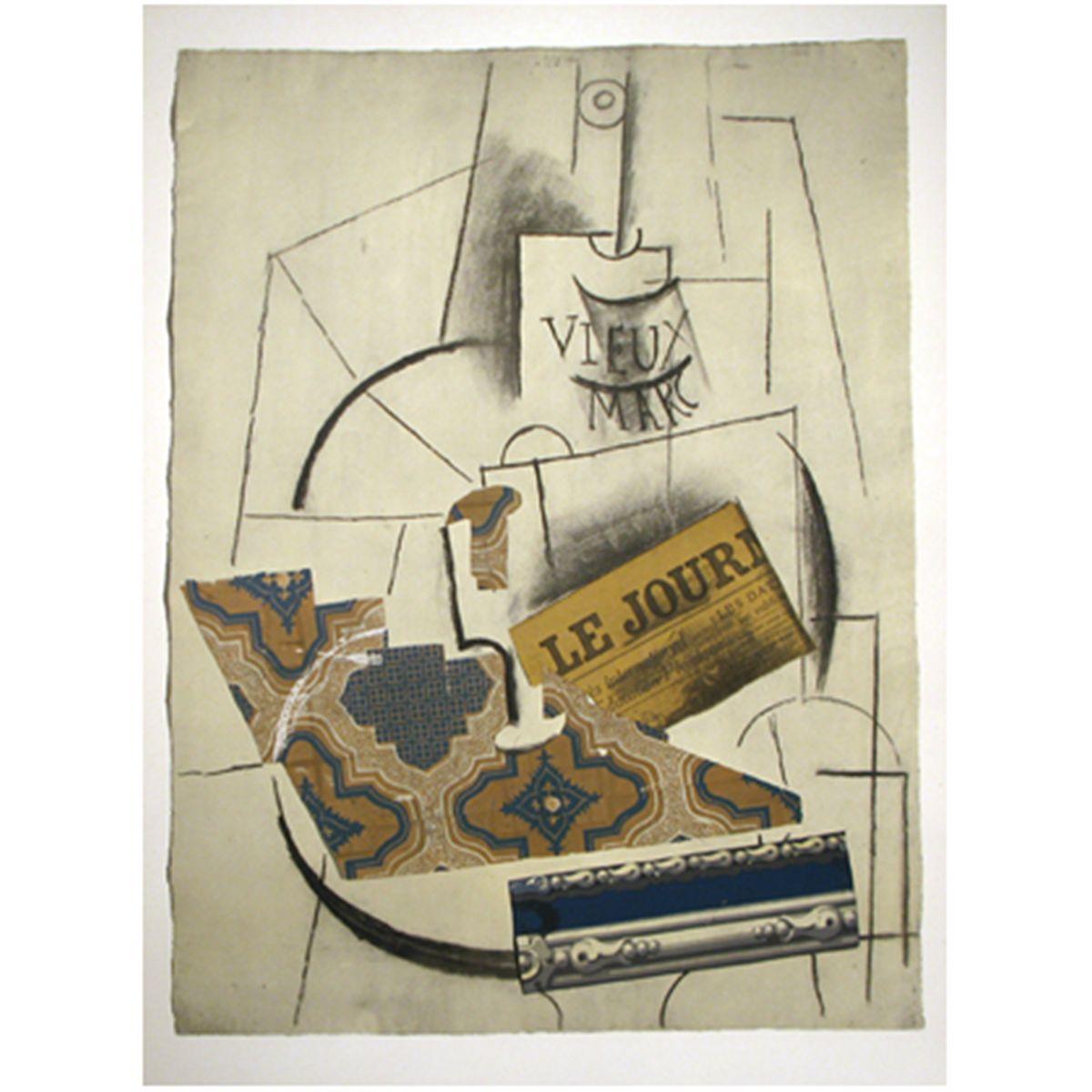 """(Img. 3) - Pablo Picasso, """"Bouteille de Vieux Marc, Verre et Le Journal """" (Băuturile din vechiul Marc, sticla și jurnalul )"""
